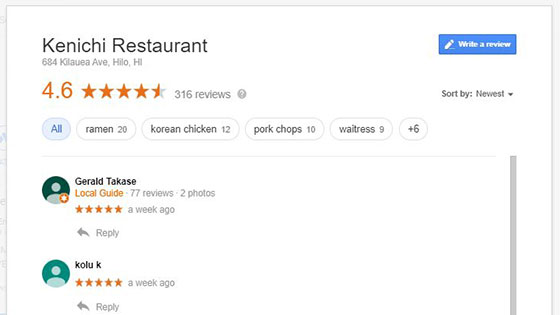 graphic of Google my Business review
